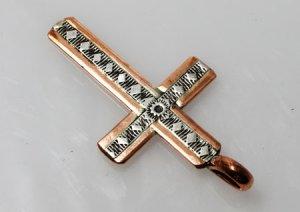 画像3: ナバホ族 Wylie Secatero スタンプワーク コッパー(銅)コンビ クロスデザイン ペンダント 2